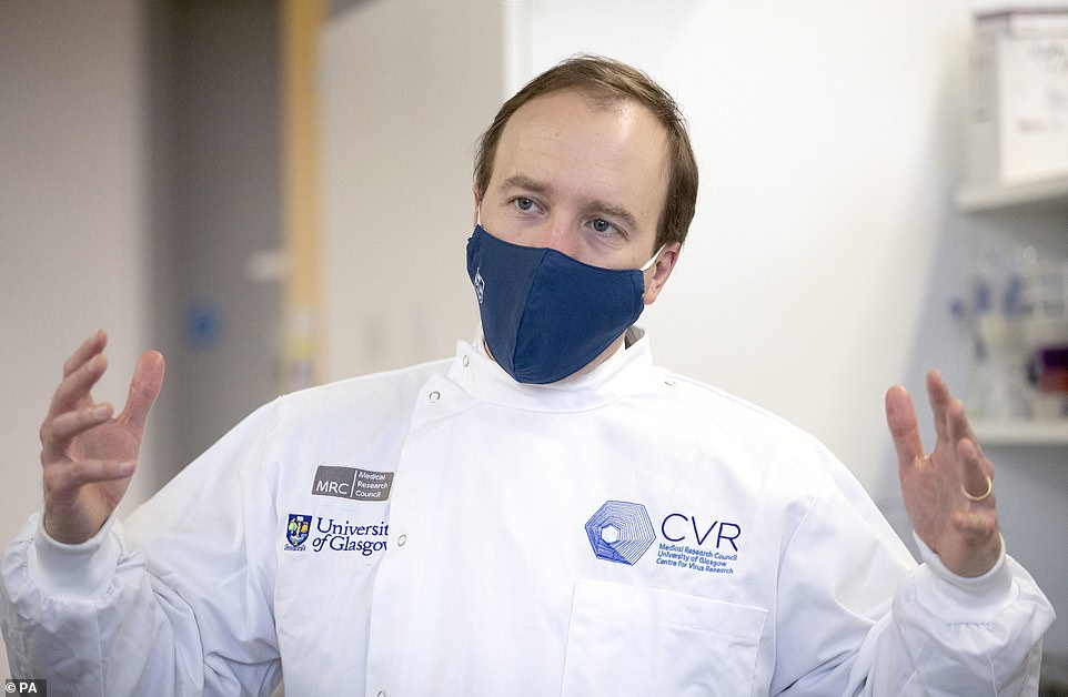 Health Secretary Matt Hancock today urged England to stay vigilant and warned the nation's 'hard-won progress' could be ruined. Pictured today during a visit to the Centre for Virus Research at Glasgow University