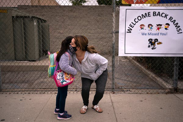 The first day of school at Heliotrope Elementary School in Maywood, Calif., in April.